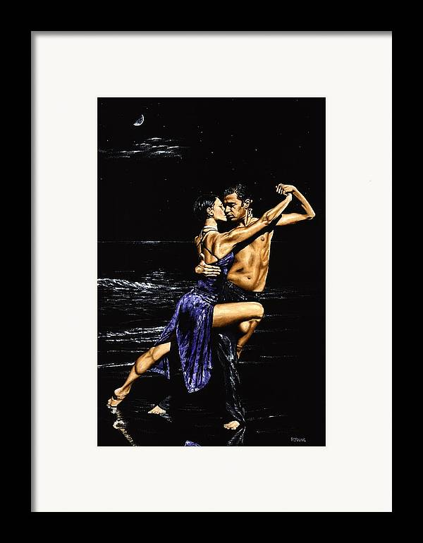 Moonlight Framed Print featuring the painting Moonlight Tango by Richard Young