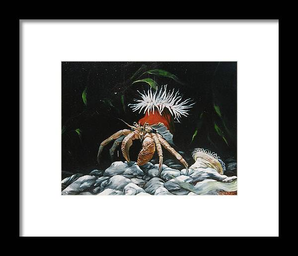 Wildlife Framed Print featuring the painting Moonlight Tidalpool by Steve Greco