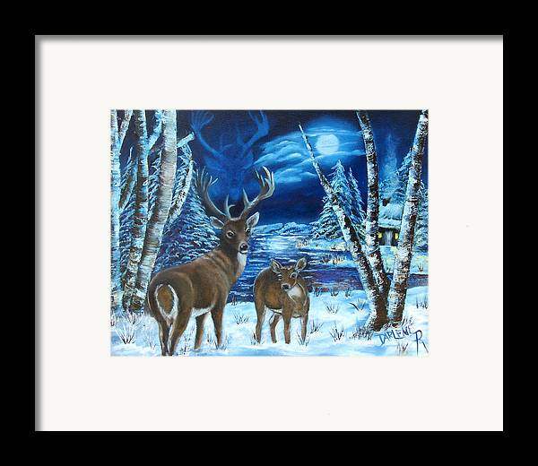 Deer Framed Print featuring the painting Moonlight Walk by Darlene Green