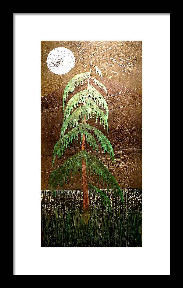 Moonlight Framed Print featuring the painting Moonlit Cedar by Rick Silas