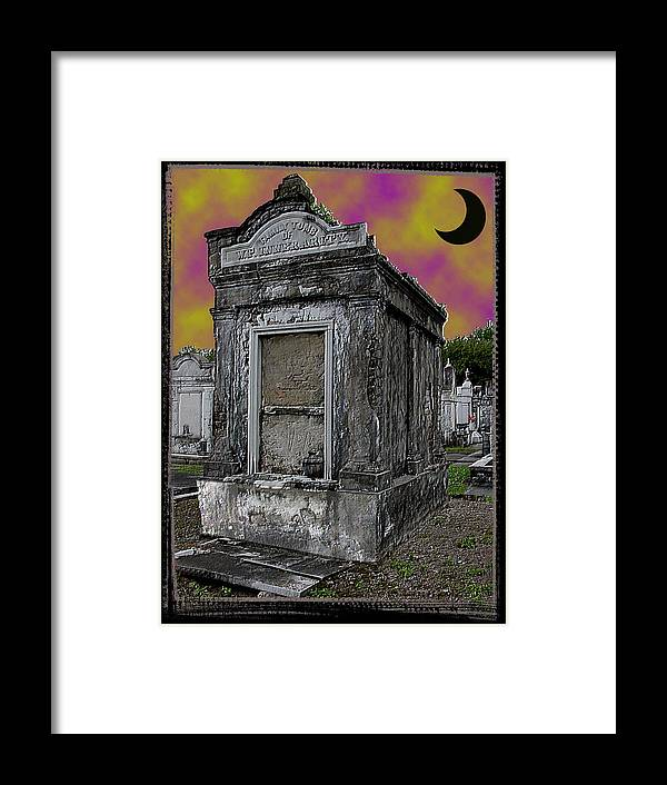 New Orleans Framed Print featuring the photograph Moonlit Cemetary by Linda Kish