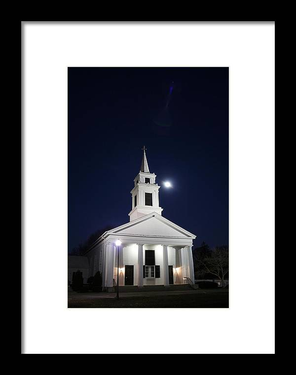 Church Framed Print featuring the photograph Moonlit Church by Jeff Porter
