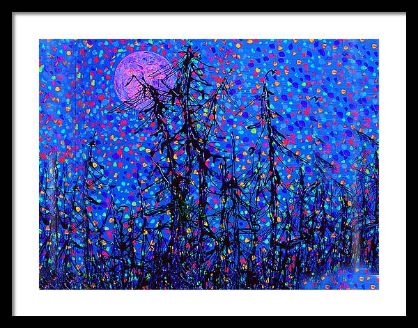 Moon Framed Print featuring the painting Moonlit Forest by Michael A Klein