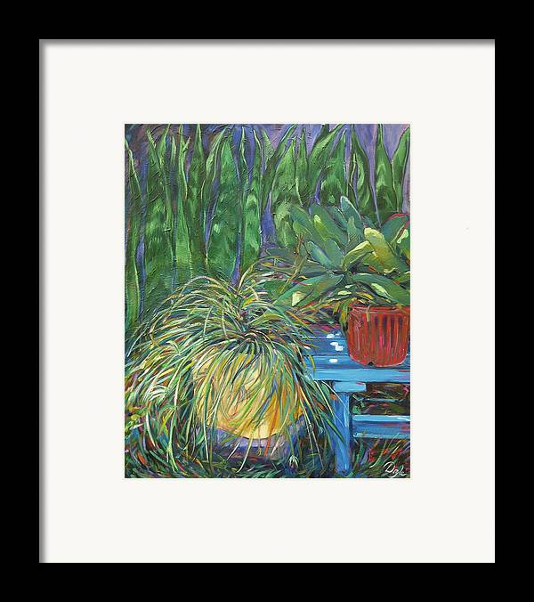 Spider Plant Framed Print featuring the painting Moonlit Garden by Karen Doyle