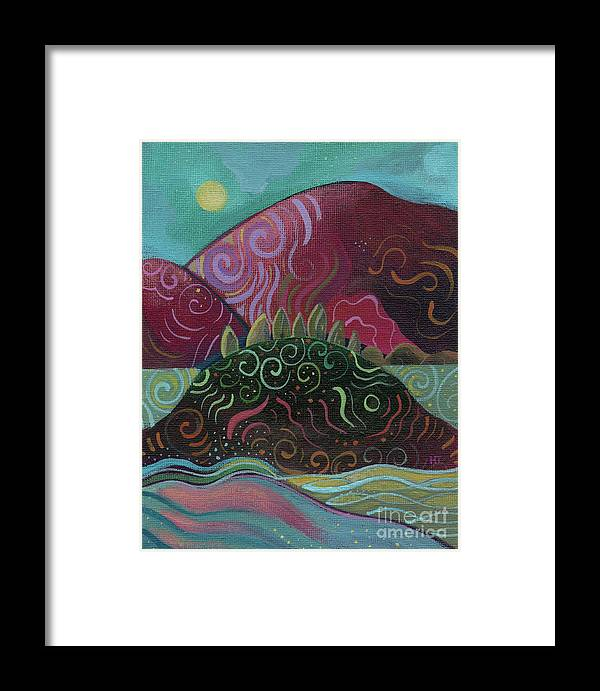 Abstract Landscape Framed Print featuring the painting Moonlit by Helena Tiainen