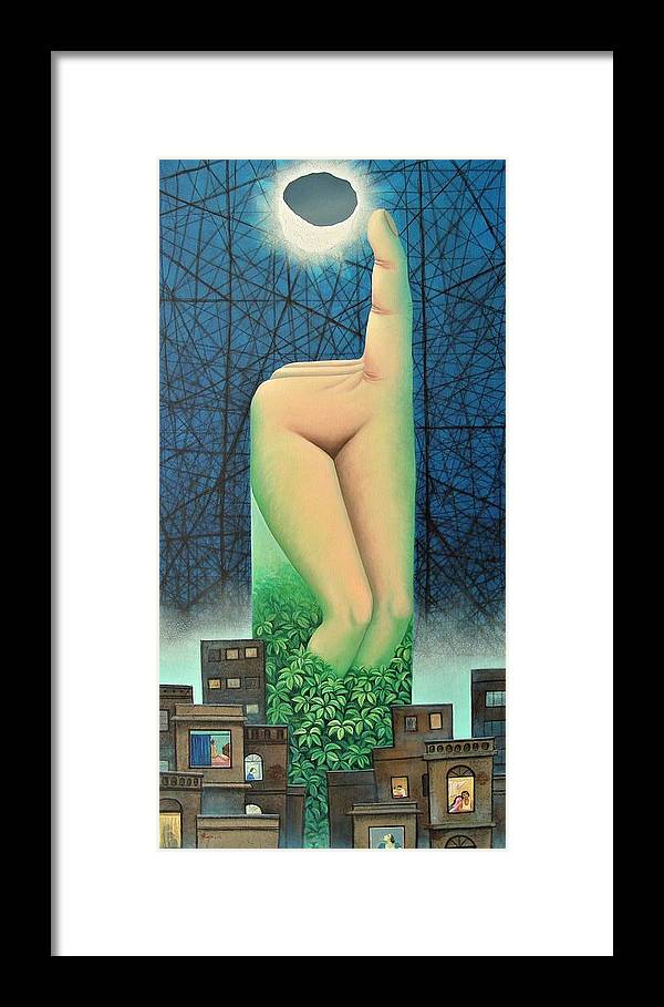 Romantic Framed Print featuring the painting Moonlit Night- A by Raju Bose