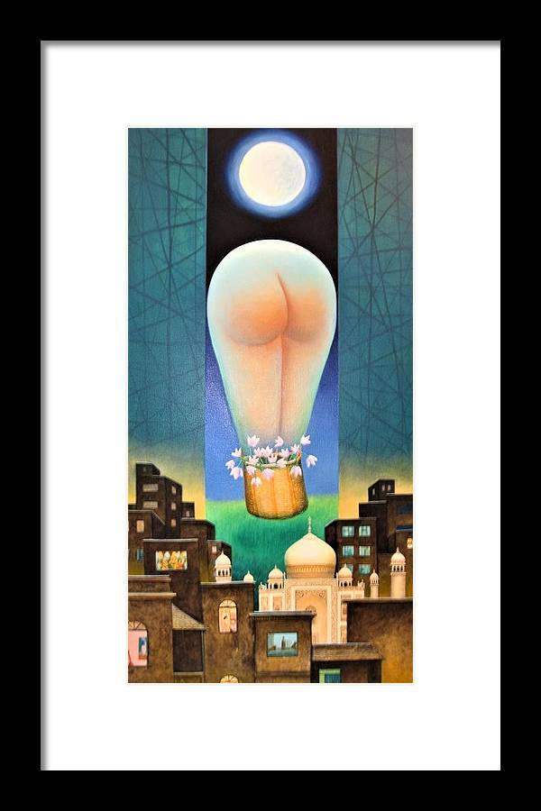 Romantic Framed Print featuring the painting Moonlit Night-b by Raju Bose
