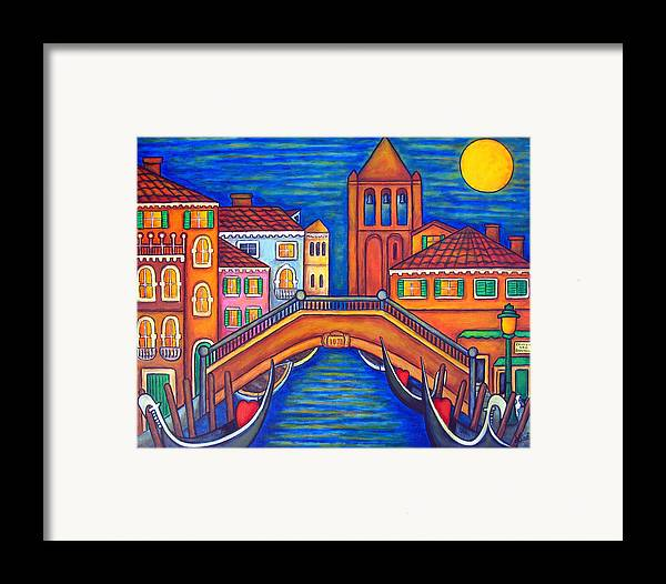 Moonlit Framed Print featuring the painting Moonlit San Barnaba by Lisa Lorenz