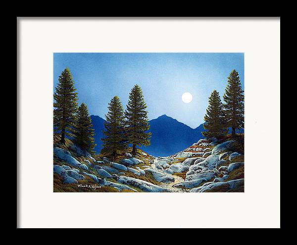 Landscape Framed Print featuring the painting Moonlit Trail by Frank Wilson