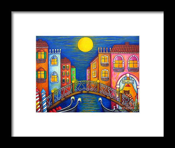 Venice Framed Print featuring the painting Moonlit Venice by Lisa Lorenz