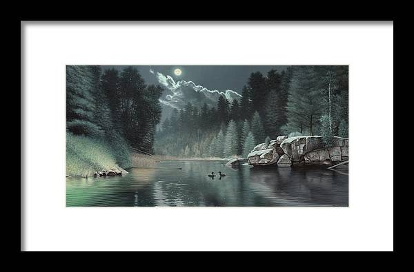 Loon Painting River Teal Green Rocks Boulder Pine Trees Forest Moon Cloud Wildlife Duck Loons Framed Print featuring the painting Moonlit Waters-loons by Daniel Pierce