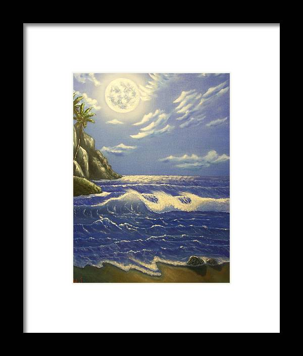 Moon Sea Scape Ocean Waves Beach Palm Trees Framed Print featuring the painting Moonlit Wave by Charles Vaughn