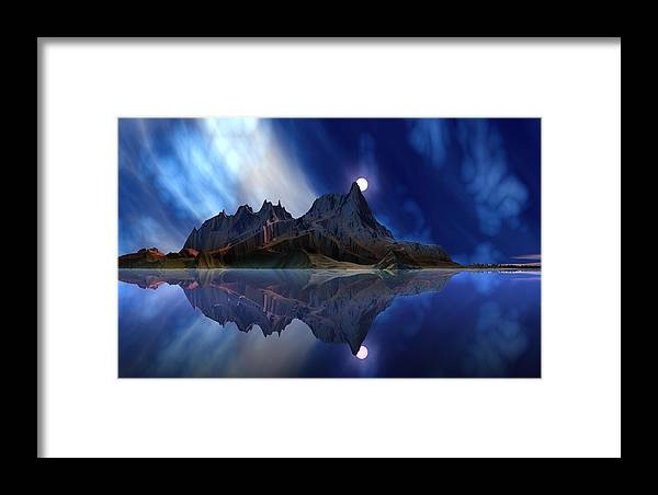 David Jackson Moonrise Accension Island. Alien Landscape Planets Scifi Framed Print featuring the digital art Moonrise Accension Island. by David Jackson