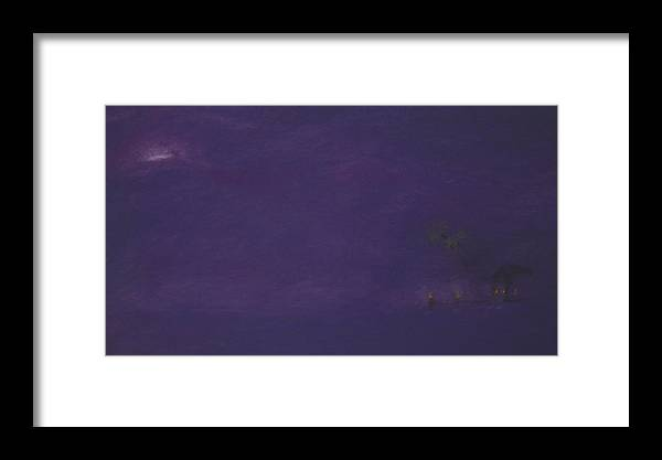 Purple Framed Print featuring the pastel Moonrise by Amanda Clark