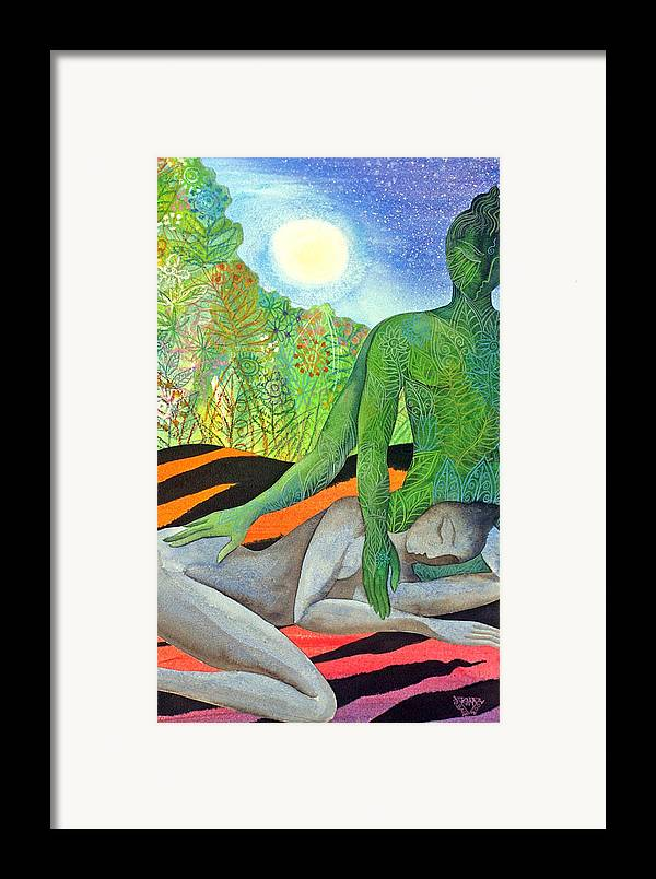 Moon Jungle Forestspirit Magical Mysterious Tropical Framed Print featuring the painting Moonrise by Jennifer Baird