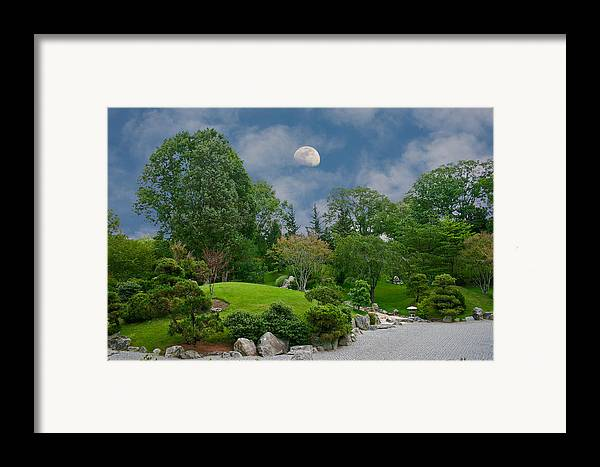 Moon Framed Print featuring the photograph Moonrise Meditation by Charles Warren