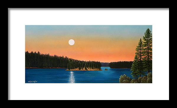 Landscape Framed Print featuring the painting Moonrise Over The Lake by Frank Wilson
