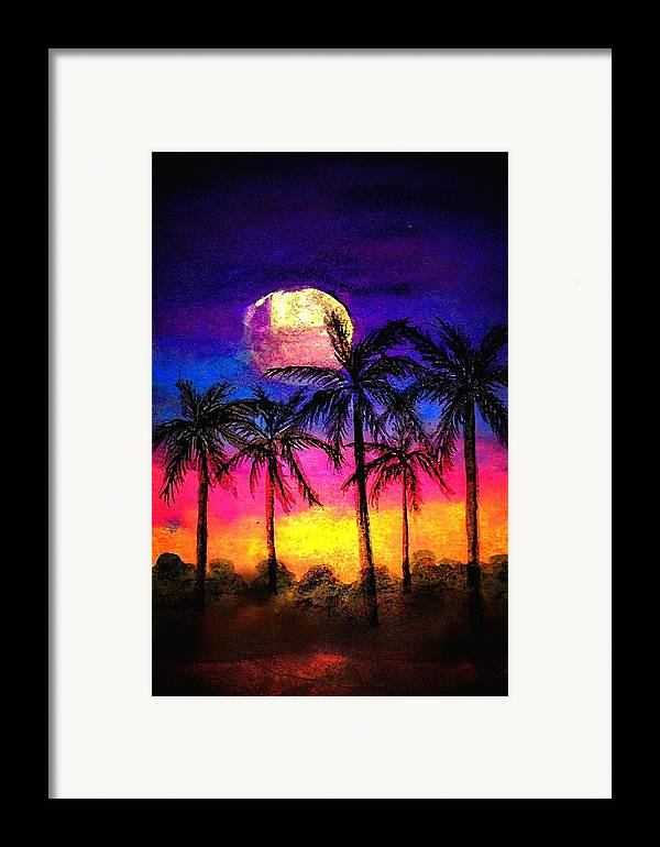 Silhouette Framed Print featuring the painting Moonrise Over The Tropics by Dina Sierra