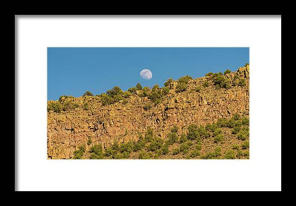 New Mexico Framed Print featuring the photograph Moonrise Rio Grande Gorge Pilar New Mexico by Lawrence S Richardson Jr
