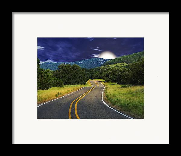 Landscape Framed Print featuring the digital art Moonrise by Wendy J St Christopher