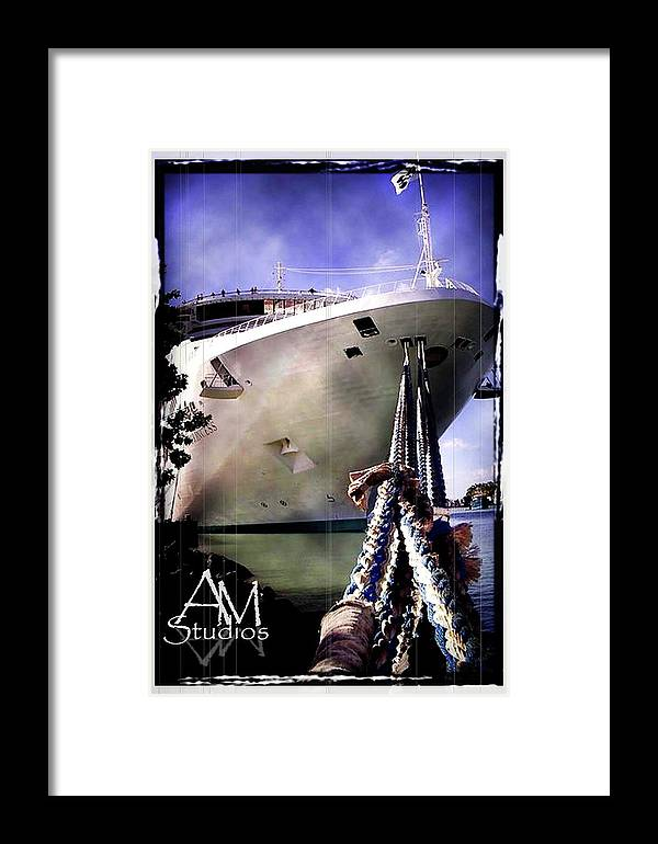 Boats Framed Print featuring the photograph Moored Cruiseship by Alyx Mitchell