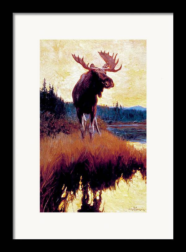 Moose Framed Print featuring the painting Moose Against Skyline by Phillip R Goodwin