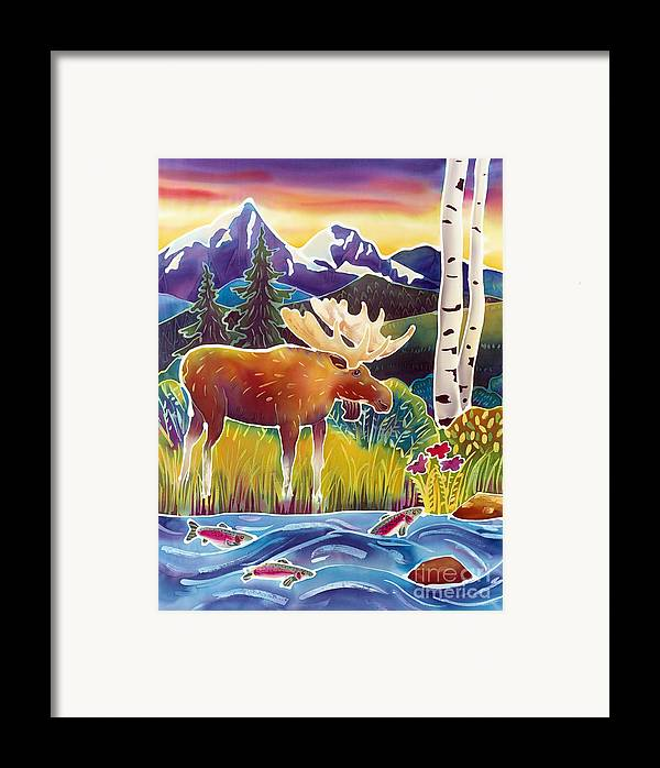 Moose Framed Print featuring the painting Moose On Trout Creek by Harriet Peck Taylor