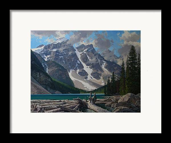 Landscape Framed Print featuring the painting Moraine Lake by Lanny Grant
