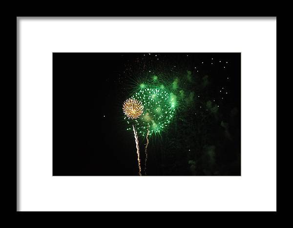 Green Framed Print featuring the photograph More Fireworks by Brynn Ditsche