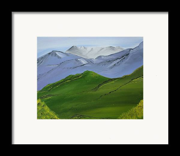 Landscape Framed Print featuring the painting More Mountains by Liz Vernand