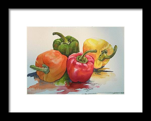 Watercolor Framed Print featuring the painting More peppers by Diane Ziemski