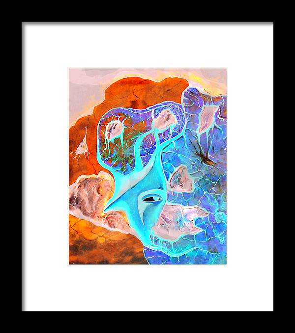 Surrealism Color Sky Haven Stones Framed Print featuring the painting More seconds in my head by Veronica Jackson