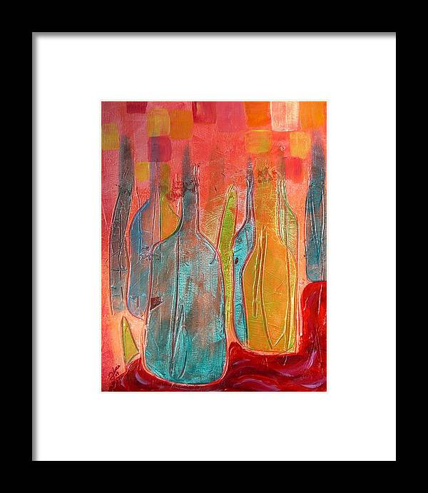 Bottles Framed Print featuring the painting More Wine Please... by Erika Larskaya