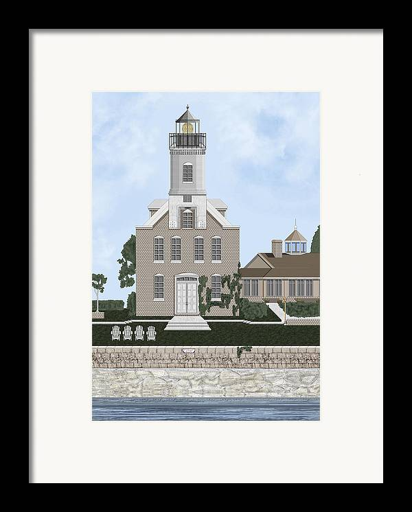 Lighthouse Framed Print featuring the painting Morgan Point Mystic Harbor Conn by Anne Norskog