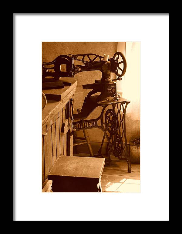 Sepia Framed Print featuring the photograph Mormon Singer Sewing Machine by Dennis Hammer