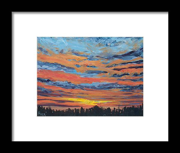 Landscape Framed Print featuring the painting Mornin II by Pete Maier