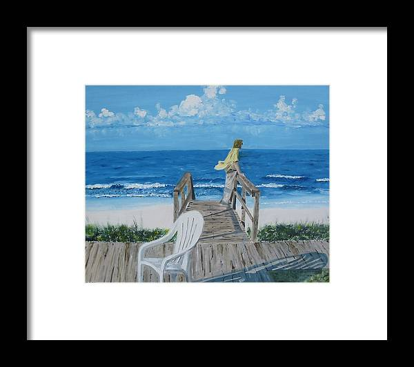 Seascape Framed Print featuring the painting Morning At Blue Mountain Beach by John Terry