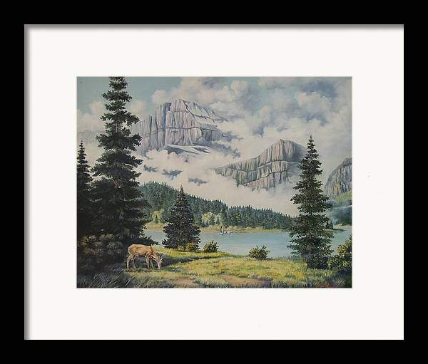Glacier Nat. Park Framed Print featuring the painting Morning At The Glacier by Wanda Dansereau