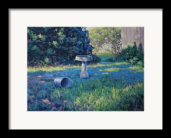 Landscape Framed Print featuring the painting Morning Bathwater by Michael Vires