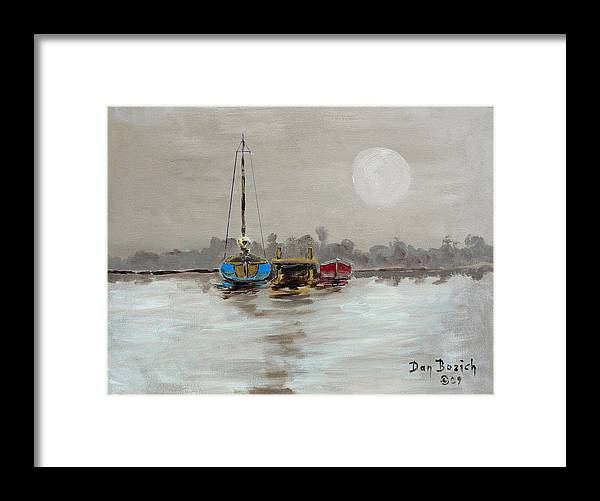 Foggy Morning Framed Print featuring the painting Morning Boats by Dan Bozich