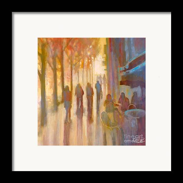 Sidewalk Framed Print featuring the painting Morning Coffee by Kip Decker