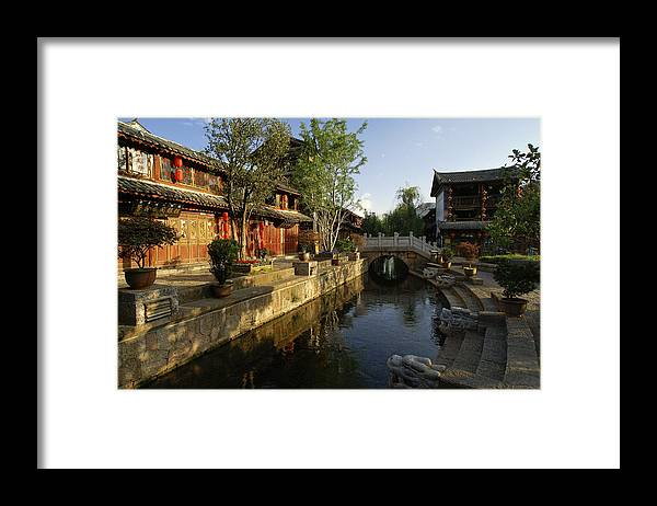 Asia Framed Print featuring the photograph Morning Comes to Lijiang Ancient Town by Michele Burgess