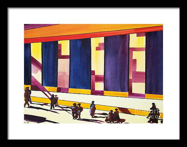 Figures Framed Print featuring the painting Morning Commute by JoAnn DePolo