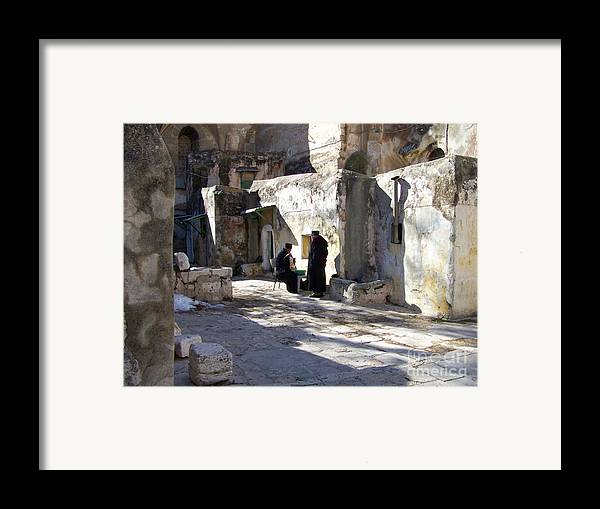 Jerusalem Framed Print featuring the photograph Morning Conversation by Kathy McClure