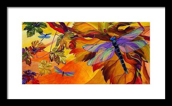 Dragonfly Framed Print featuring the painting Morning Dawn by Karen Dukes