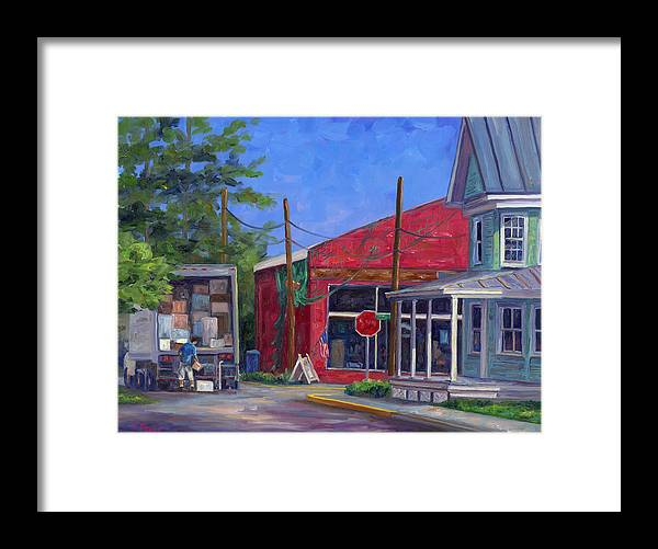 Oriental Nc Framed Print featuring the painting Morning Delivery by Jeff Pittman