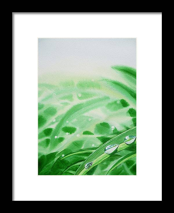 Dew Drop Framed Print featuring the painting Morning Dew Drops by Irina Sztukowski