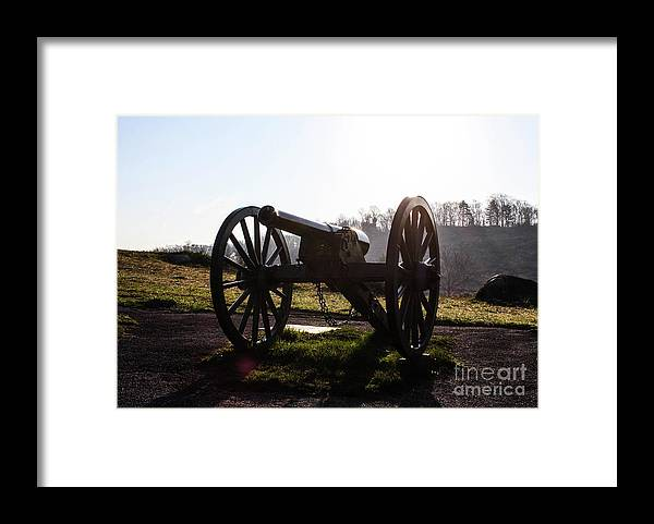 This Is A Photo Of A Cannon In The Early Morning On The Gettysburg Battlefield With Little Round Top As The Background Framed Print featuring the photograph Morning Dew by William Rogers