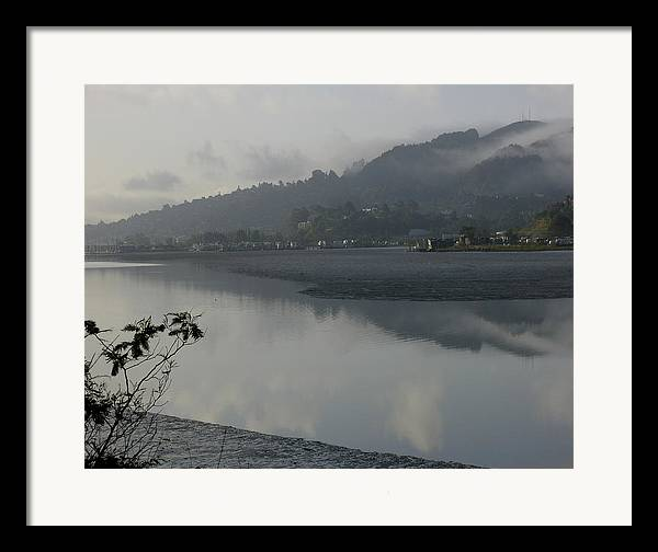 Landscape.west Sausalito.reflection.fog. Framed Print featuring the photograph Morning Fog by Vari Buendia