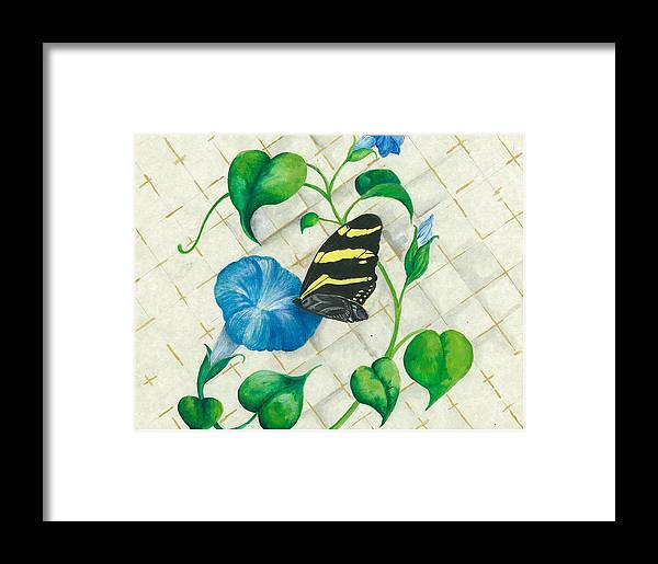Morning Glories Framed Print featuring the painting Morning Glories And Butterfly by Sally Balfany